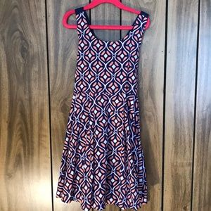 Crown & Ivy Navy and Coral Dress